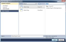 visual studio 2010 website templates i cant find web form using master page in visual studio 2010