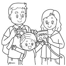 欧米人日本に観光に来た外国人の家族のイラストぬりえ 子供と