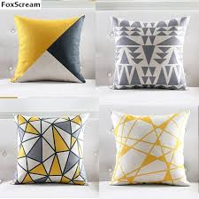 Image Lumbar Pillow Nordic Cushion Yellow Decorative Pillows Grey Geometric Cushions Covers Home Decor Throw Pillow Case Pillowcase For Aliexpress Nordic Cushion Yellow Decorative Pillows Grey Geometric Cushions