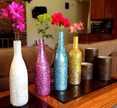 glitter wine bottle vases