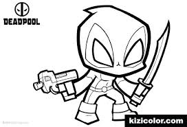 Chibi Deadpool Coloring Pages Unicorn Animal Drawn Free A Cute Anime