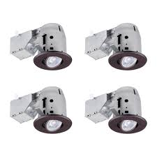 3 led ic rated swivel spotlight recessed lighting kit 4 pack dimmable downlight oil rubbed bronze easy install push n clips led bulbs included
