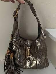 Gucci Tote Brown Gold Snakeskin Jackie Hobo Handbag 8000