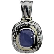 david yurman chalcedony albion cable enhancer silver and gold pendant for