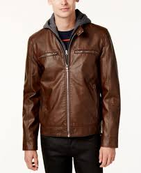 280 new guess men s brown faux leather moto hooded jacket winter coat size xl