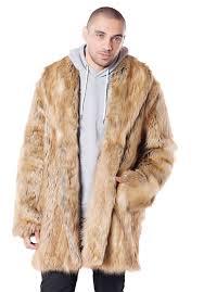 men s gold fox faux fur coat