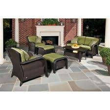 wicker patio furniture. Resin Wicker 6-Piece Patio Furniture Loveseat Set With Green Seat Cushions