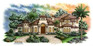 the front elevation of the estrella house plan is adorned with all of the typical trappings of a mediterranean home including arched windows