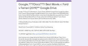 Google Docs Best Movie Ford V Ferrari 2019 Google Drive