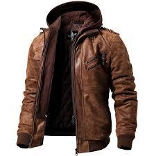 pop 2019 men s real leather motorcycle jacket removable hood winter coat men warm genuine leather jackets
