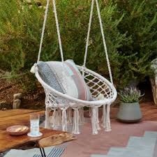 Cheap outdoor furniture ideas Balcony Bohostyle Hanging Chair With Fringe Hayneedle 2019 Outdoor Furniture Ideas Trends Hayneedle