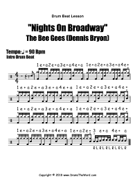 Sheet Music Symbols Chart Nights On Broadway The Bee Gees Drum Beat Video Drum