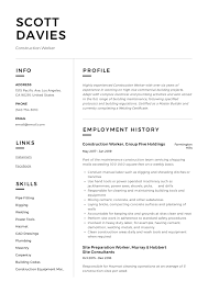 Example Of Construction Resume Construction Worker Resume Writing Guide 12 Templates