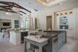 Kitchen With Vaulted Ceilings Modern Vaulted Ceiling Kitchen Living Room Design With White And
