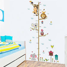lovely animals on tree branch growth chart wall stickers kids room decoration children height measure mural art diy home decals canada 2019 from douglass