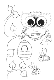 Small Picture Cute Owl With Bees Coloring Pages Owl Coloring Pages Free