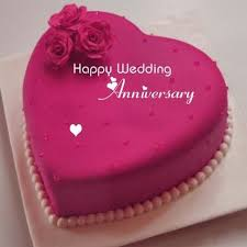 Happy Wedding Anniversary Wishes Heart Name Cake Flowers Wedding