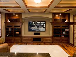 Small Picture Home Theater designed by lcd tv on the wall and double brown