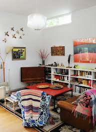 charming eclectic living room ideas. Repurposed Desk Turned Into A Custom Coffee Table In The Small Living Room [Design: Charming Eclectic Ideas N