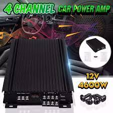 12V 4600W 4 Channel Car Audio Power Amplifier Car Amplifier Amplifiers  Stereo Audio Super Bass Subwoofer Prower|Multichannel Amplifiers