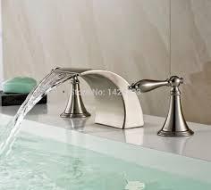brushed nickel finish double handles waterfall bathroom basin sink faucet deck mount basin mixer taps