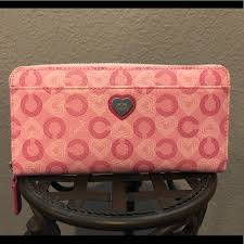 COACH Accordion Zip Wallet  Pink Waverly Hearts