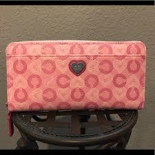 COACH Accordion Zip Wallet  Pink Waverly Hearts
