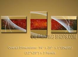 hand painted tri panel wall art for office decor modern