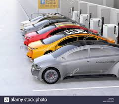 Electric Cars Charging At Ev Charging Station Cars Roof With
