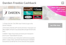 hot free 10 darden gift card for new top cash back members use at olive garden longhorn red lobster and more