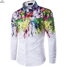 Patterned Button Up Shirts Enchanting WWJWENWEN New Men Casual Shirts Fashion Long Sleeve Brand Flower