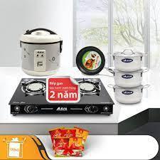 Bộ nhà bếp siêu tiết kiệm ASIA (nồi cơm điện 1.2 Lít, bếp gas hồng ngoại, 3  nồi inox, 1 chảo) - Tặng 5 gói cháo yến