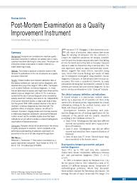 Post Mortem Examination As A Quality Improvement Instrument 28 09 2018