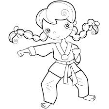 Free Printable Girl Training Karate Coloring