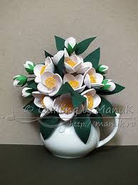 Paper Quilling Flower Bokeh Quilled Jasmine Flowers Bouquet In A Vase Quilling By Manuk