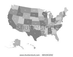 simplified vector map united states america stock vector 193344767 Map Of Us With Labels political map of united states od america, usa simple flat vector map in four map of usa with labels