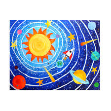 space painting for childrens room solar system 7 art for kids 24x18 acrylic canvas painting for kids room