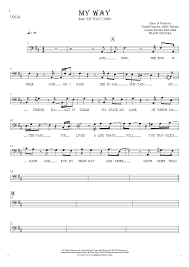 My Way Notes And Lyrics Bass Clef For Vocal Melody Line