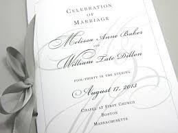 Wedding Ceremony Program Cover Wedding Ceremony Program Booklet Elegant Black White Custom Classic