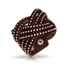 genuine brown leather studded rivets stainless steel wide woven braided twist cuff bracelet for men for women snap close