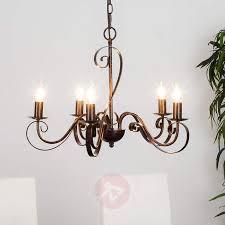 5 light rust coloured chandelier caleb