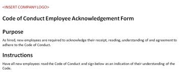 Employee Acknowledgement Form Template Code Of Conduct Employee Acknowledgement Form