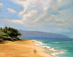 calm sunset beach painting of sunset beach oahu hawaii
