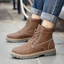 Leather Men Martin Boots <b>Spring Autumn Military</b> Leather Boots ...