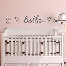 boho arrow name wall decal custom baby name decal heart vinyl wall decals nursery girls room decor 8 5 h x 50 w plus free welcome door decal