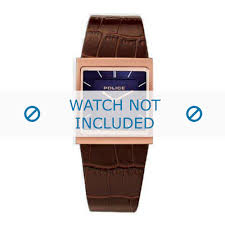 police watch strap 10849m leather brown 28mm zoom