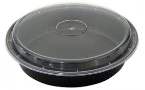 pactiv nc948b versatainer 48 oz plastic round microwave safe containers black base with clear lid 9 x 2 150 case