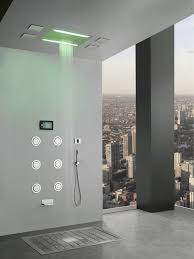 super luxury recessed led large waterfall rainfall shower system with 6 body jets hand shower systems body jets e66