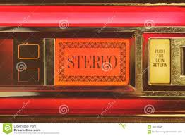 Red Light Vintage Costume Close Up Of A Vintage Jukebox With The Text Stereo Stock