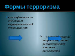 Презентация Терроризм угроза обществу скачать бесплатно Формы терроризма классификация по субъектам террористической деятельности кла
